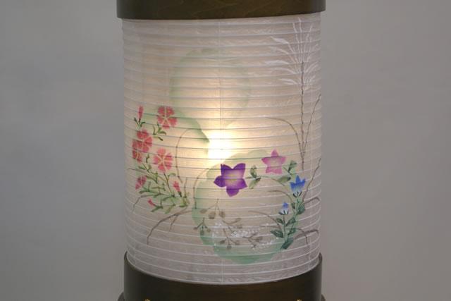 【組立不要】盆提灯 愁霊燈 雪輪 絹二重絵入 LED (87-F1175)送料無料