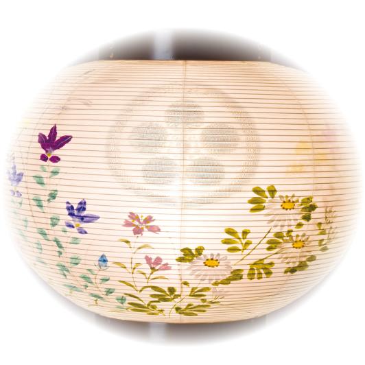 【納期約2週間】家紋入り盆提灯 彩雲の里 絹二重絵入 10号 (8441-10-446)送料無料
