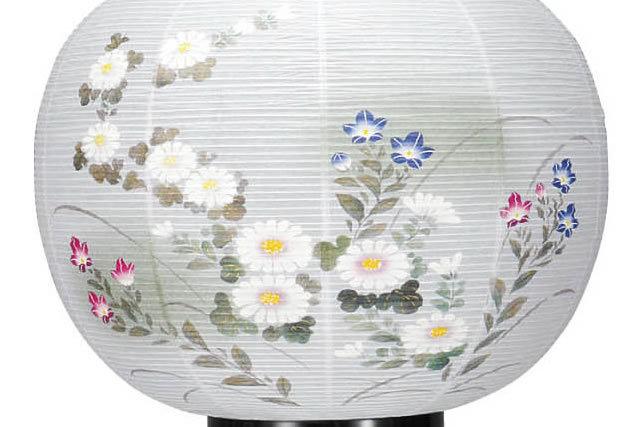 盆提灯 花印綾型蒔絵 絵入 (852-4421)