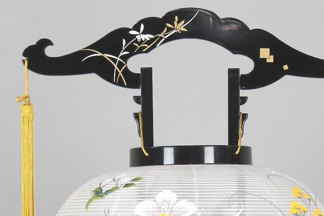 盆提灯 廻転行灯 あかり11号 蘭蒔絵絹絵入(8615-11-776)